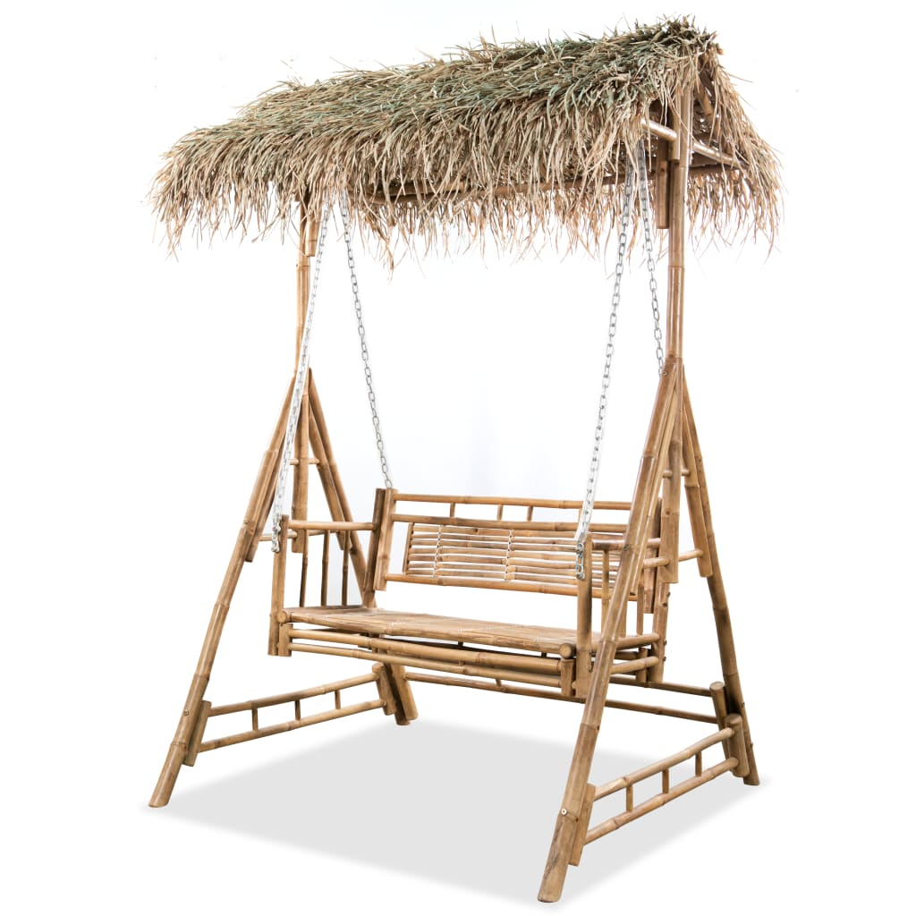 vidaXL Balansoar cu 2 locuri, cu frunze de palmier, 202 cm, bambus imagine vidaxl.ro