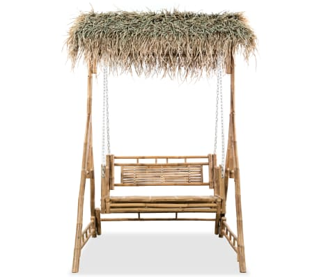 vidaXL Gugalnica za 2 osebi iz bambusa s palmovimi listi 202 cm[2/6]