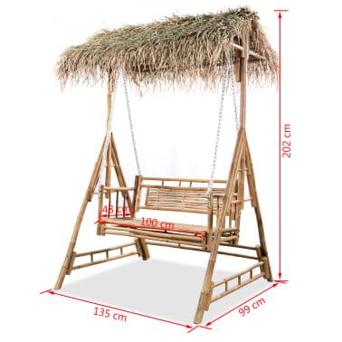 vidaXL Gugalnica za 2 osebi iz bambusa s palmovimi listi 202 cm[6/6]