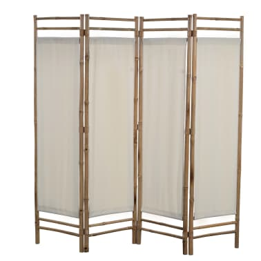 "vidaXL Folding 4-Panel Room Divider Bamboo and Canvas 63""[1/6]"