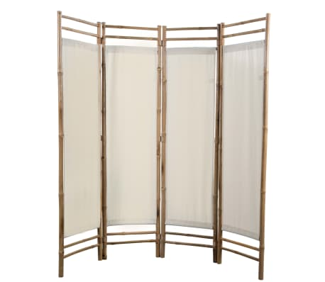 "vidaXL Folding 4-Panel Room Divider Bamboo and Canvas 63""[2/6]"