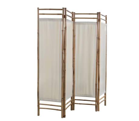 "vidaXL Folding 4-Panel Room Divider Bamboo and Canvas 63""[3/6]"