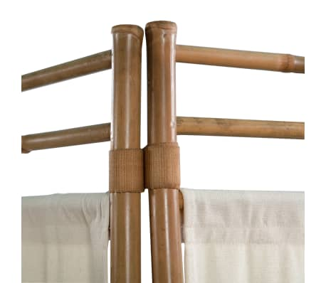 "vidaXL Folding 4-Panel Room Divider Bamboo and Canvas 63""[5/6]"