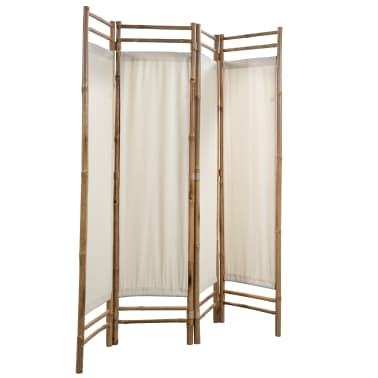 "vidaXL Folding 4-Panel Room Divider Bamboo and Canvas 63""[4/6]"