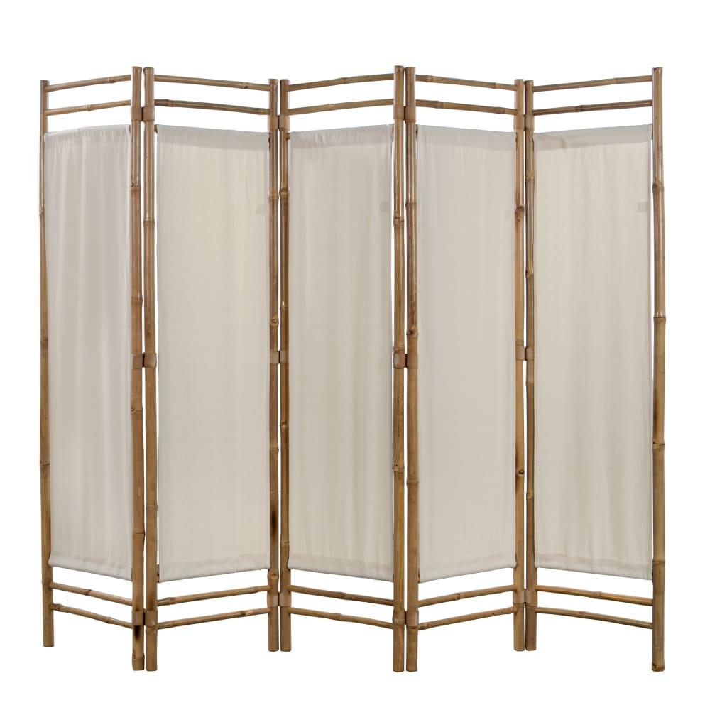 Kokkupandav 5 paneeliga vahesein, bambus ja lõue..