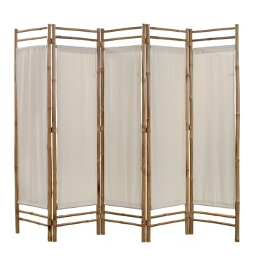 "vidaXL Folding 5-Panel Room Divider Bamboo and Canvas 78.7""[1/5]"