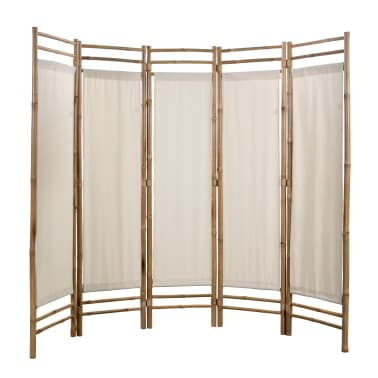 "vidaXL Folding 5-Panel Room Divider Bamboo and Canvas 78.7""[2/5]"