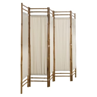 "vidaXL Folding 5-Panel Room Divider Bamboo and Canvas 78.7""[3/5]"