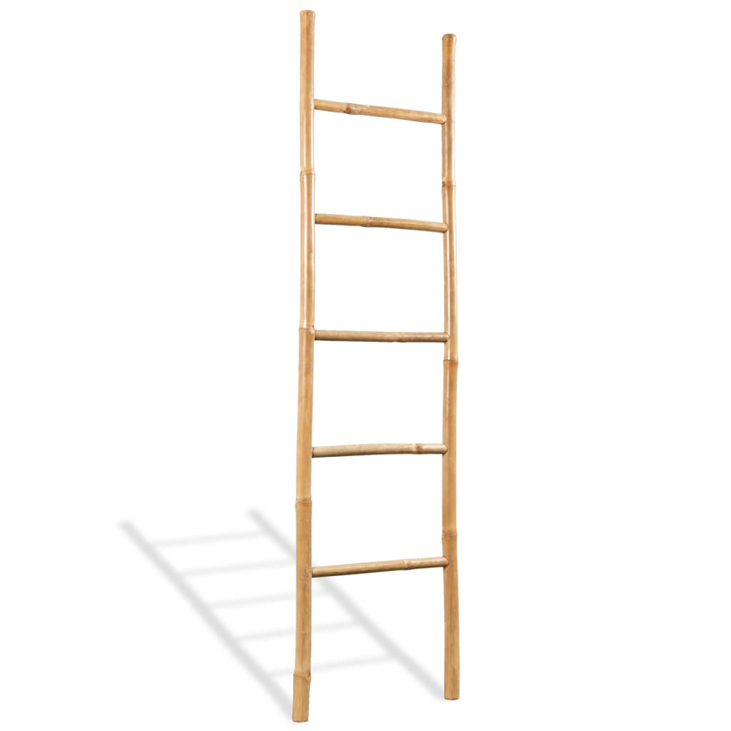 vidaXL-Towel-Ladder-with-5-Rungs-Bamboo-150cm-Home-Bathroom-Hanger-Rail-Rack
