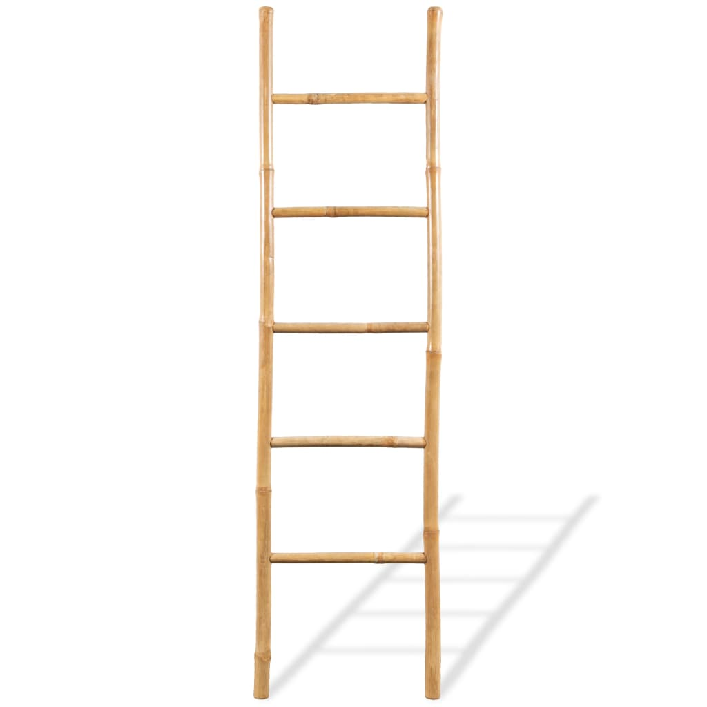 vidaXL-Towel-Ladder-with-5-Rungs-Bamboo-150cm-Home-Bathroom-Hanger-Rail-Rack thumbnail 2