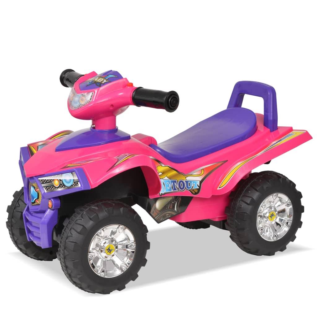 Dětská odrážecí čtyřkolka se zvukem a světly, růžová a fialová