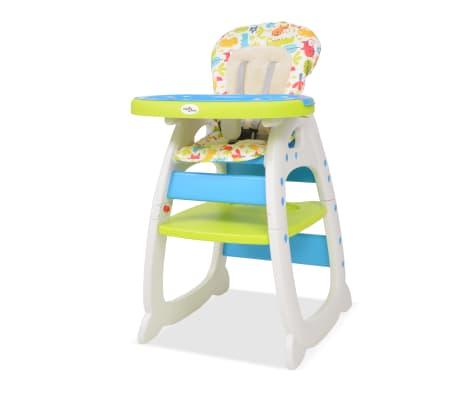 vidaXL kolm-ühes söötmistool koos lauaga, sinine ja roheline
