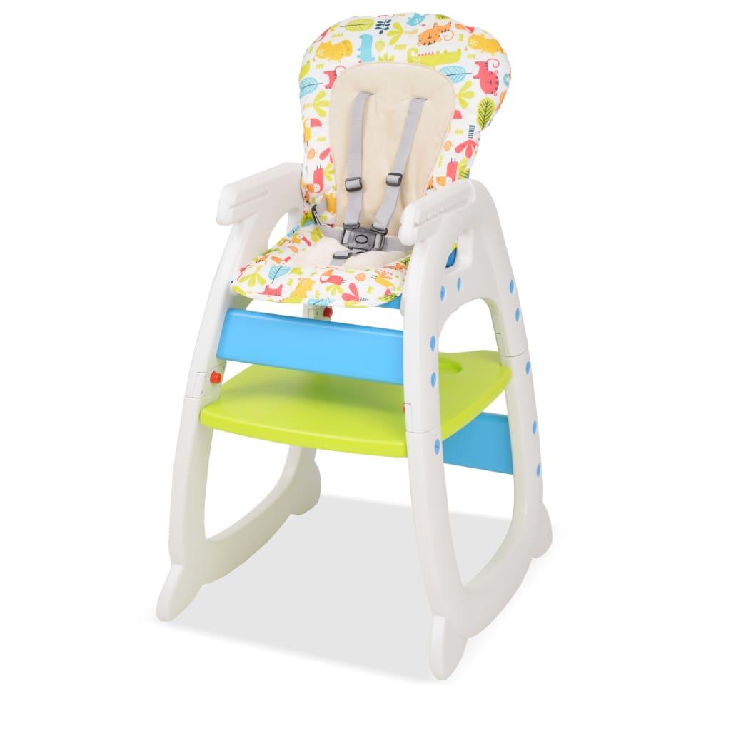 vidaXL Rozkládací jídelní židlička 3 v 1 se stolkem, modrá a zelená