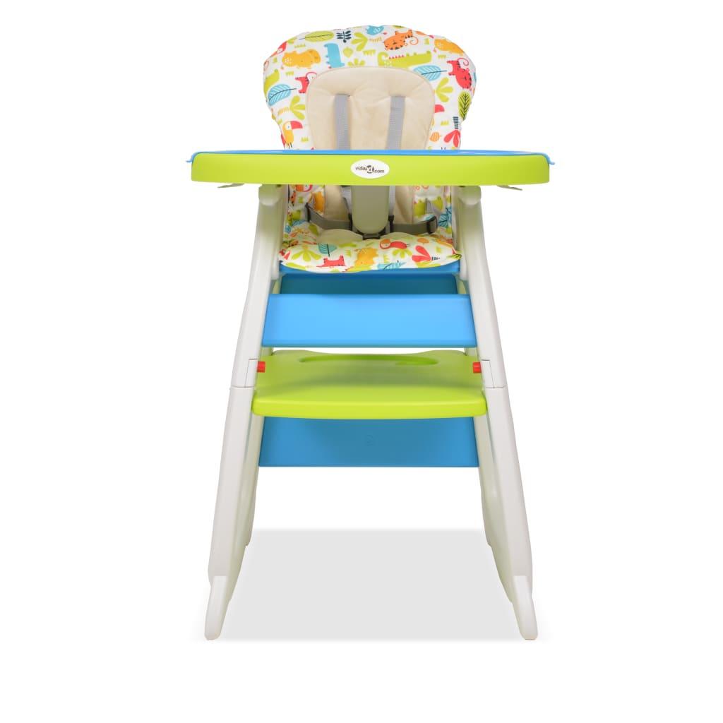 Rozkládací jídelní židlička 3 v 1 se stolkem, modrá a zelená