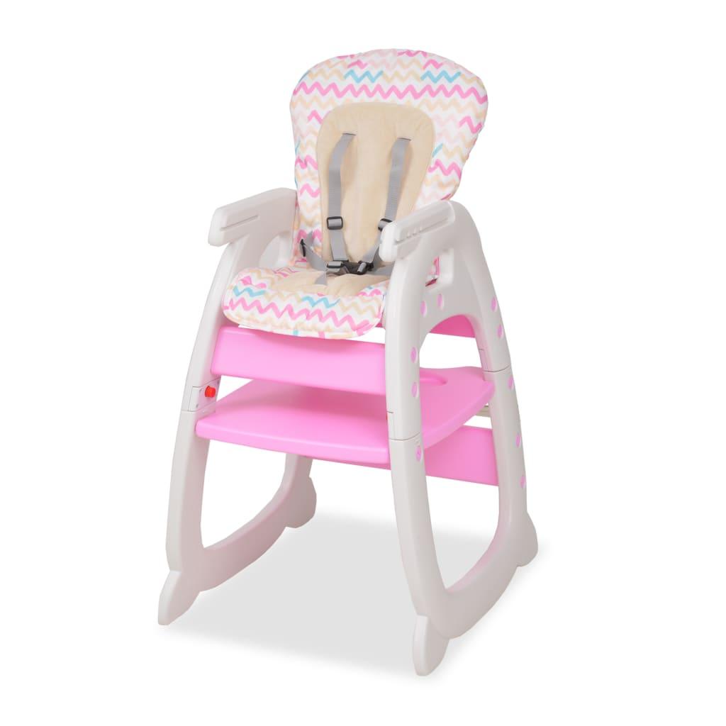 vidaXL Rozkládací jídelní židlička 3 v 1 se stolkem, růžová