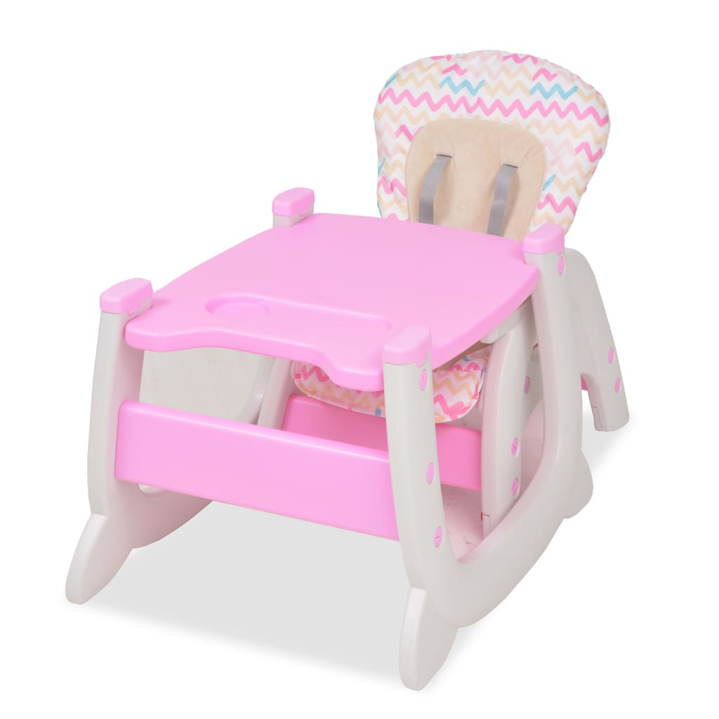 Rozkládací jídelní židlička 3 v 1 se stolkem, růžová