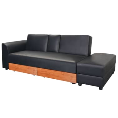 vidaXL Sofa Bed with Drawers and Ottoman Black Artificial Leather[2/8]