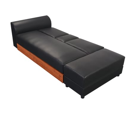 vidaXL Sofa Bed with Drawers and Ottoman Black Artificial Leather[4/8]