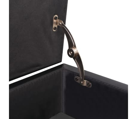 vidaXL Sofa Bed with Drawers and Ottoman Black Artificial Leather[6/8]