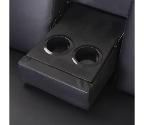 vidaXL Sofa Bed with Drawers and Ottoman Black Artificial Leather[8/8]