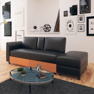 vidaXL Sofa Bed with Drawers and Ottoman Black Artificial Leather[1/8]