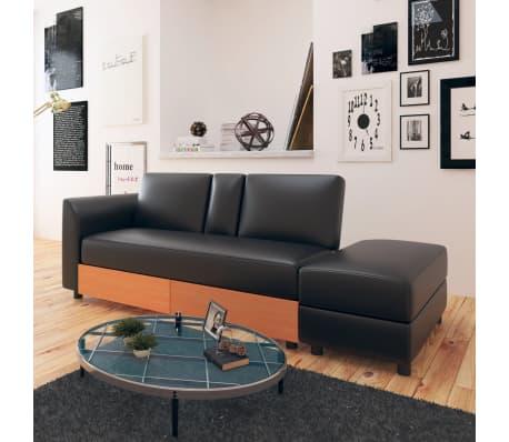 Astonishing Details About Vidaxl Sofa Bed W Drawers And Ottoman Black Artificial Leather Couch Futon Inzonedesignstudio Interior Chair Design Inzonedesignstudiocom