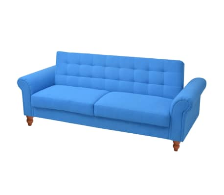 vidaXL Convertible Sofa Bed Fabric Blue[1/7]