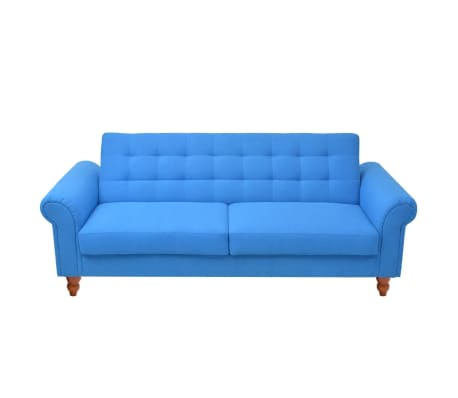 vidaXL Convertible Sofa Bed Fabric Blue[2/7]