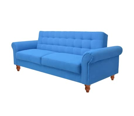 vidaXL Convertible Sofa Bed Fabric Blue[5/7]