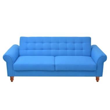 vidaXL Convertible Sofa Bed Fabric Blue[2/7]