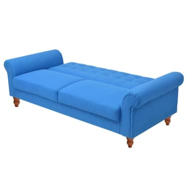 vidaXL Convertible Sofa Bed Fabric Blue[3/7]