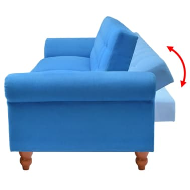 vidaXL Convertible Sofa Bed Fabric Blue[4/7]