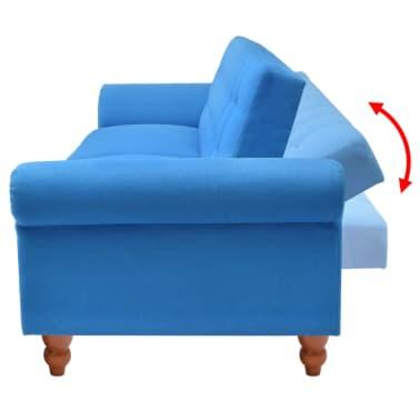 vidaXL Convertible Sofa Bed Fabric Blue[4/7]