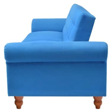 vidaXL Convertible Sofa Bed Fabric Blue[6/7]