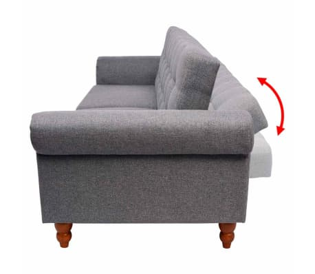 vidaXL Convertible Sofa Bed Fabric Gray[4/7]