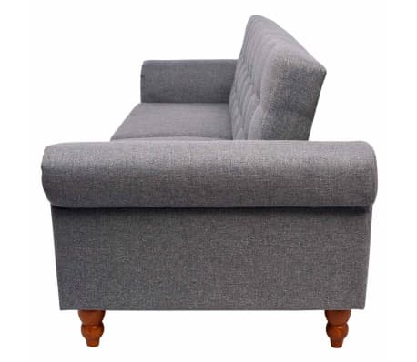 vidaXL Convertible Sofa Bed Fabric Gray[6/7]