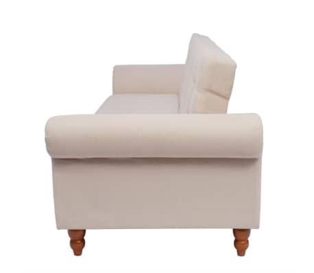 vidaXL Convertible Sofa Bed Fabric Cream[6/7]