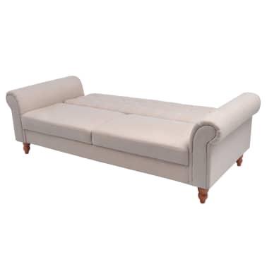 vidaXL Convertible Sofa Bed Fabric Cream[3/7]