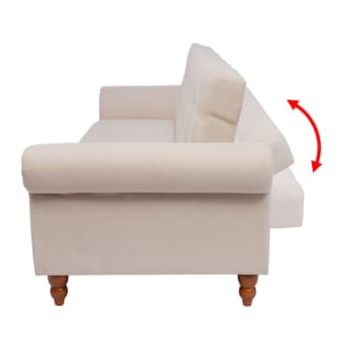 vidaXL Convertible Sofa Bed Fabric Cream[4/7]