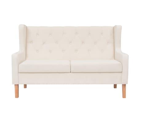 vidaXL Dvivietė sofa, audinys, krėminė balta spalva[2/7]