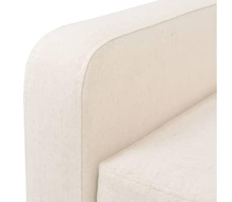 vidaXL Dvivietė sofa, audinys, krėminė balta spalva[5/7]