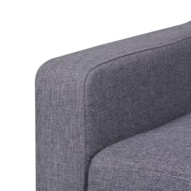 vidaXL Trivietė sofa, audinys, pilka[5/7]