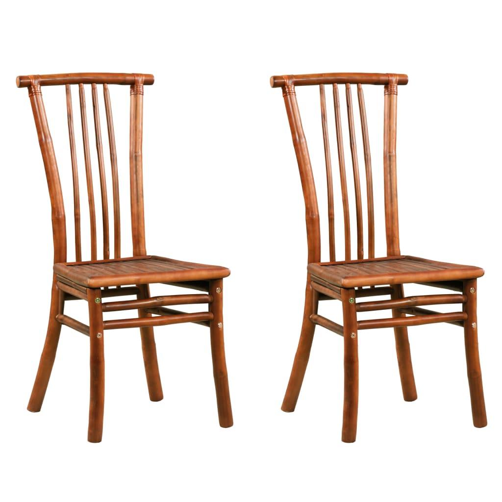 vidaXL Καρέκλες Τραπεζαρίας 2 τεμ. Καφέ από Μπαμπού