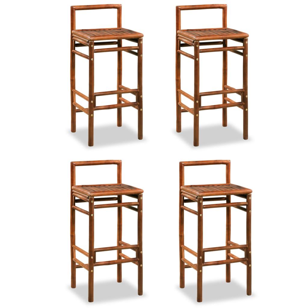 vidaXL Barové stoličky, 4 ks bambus, 38x36x90 cm, hnědé