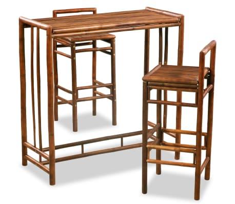 vidaXL Valgomojo baldų komplektas, 3d., bambukas, rudas