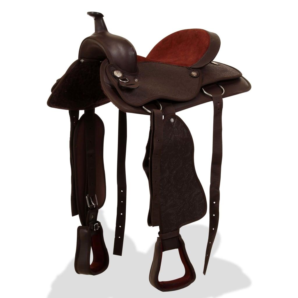 """vidaXL Westernové sedlo pro koně, set, pravá kůže 15"""" hnědé"""