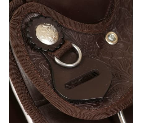 "vidaXL Western Saddle, Headstall&Breast Collar Real Leather 15"" Brown[9/16]"