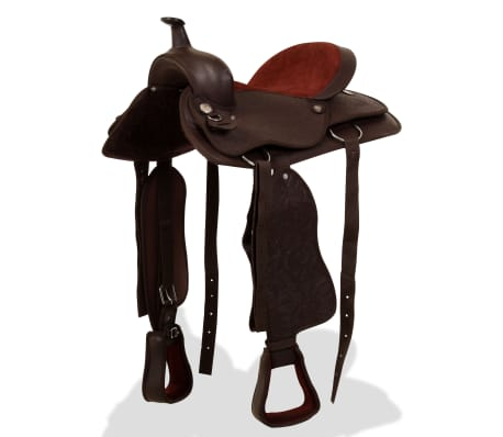"vidaXL Western Saddle, Headstall&Breast Collar Real Leather 16"" Brown[1/16]"
