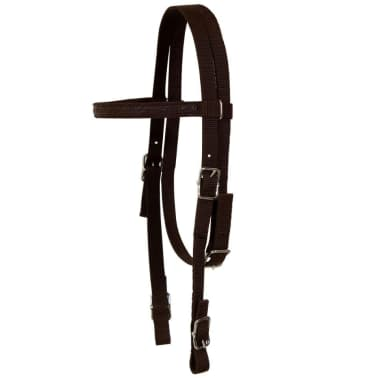 "vidaXL Western Saddle, Headstall&Breast Collar Real Leather 16"" Brown[11/16]"