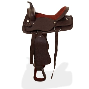 "vidaXL Western Saddle, Headstall&Breast Collar Real Leather 16"" Brown[4/16]"